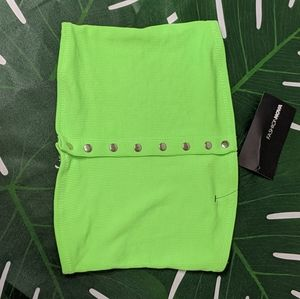 Neon Green Tube Top size S NWT Button Up